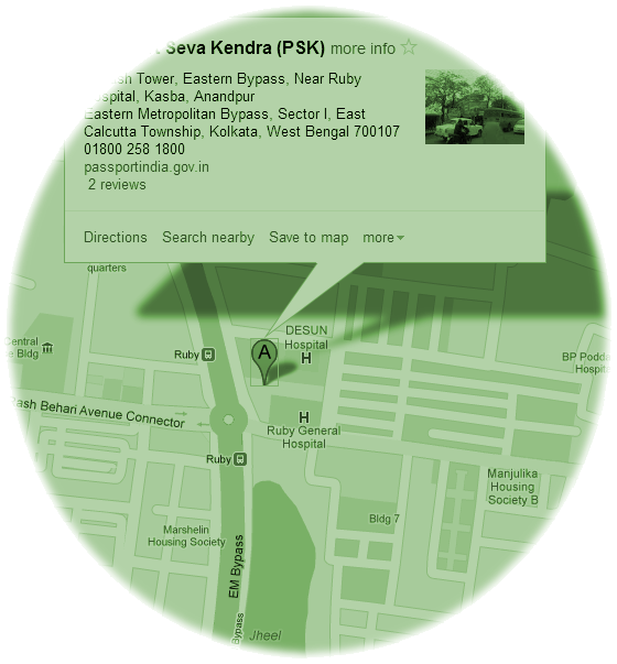 Kolkata Passport Seva Kendra, Google Map