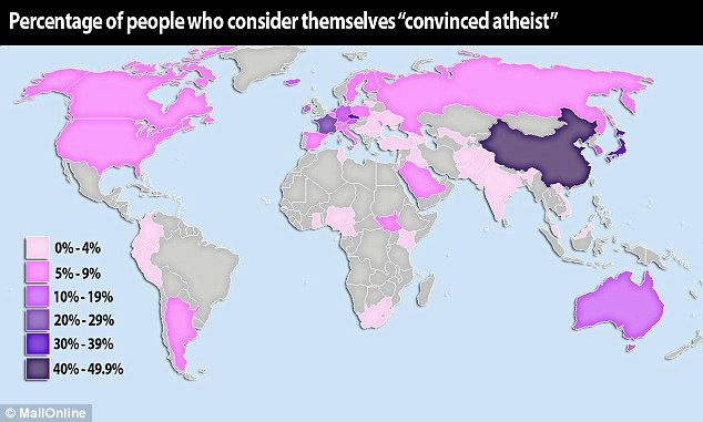 Map showing percentage of convinced atheists world over