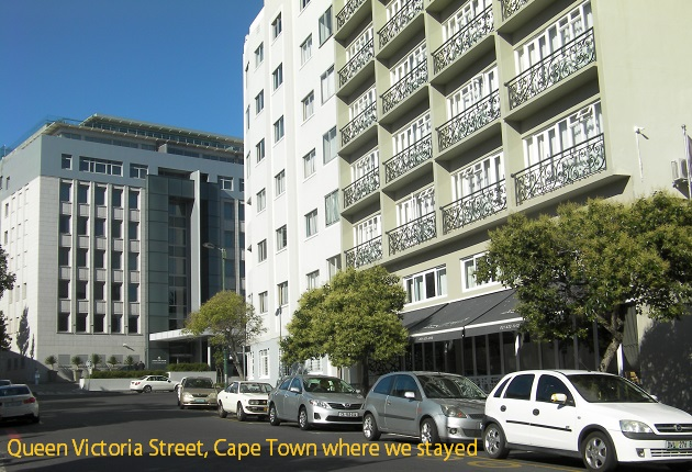 Queen Victoria Street, Cape Town, where we stayed opposite South Africa Museum