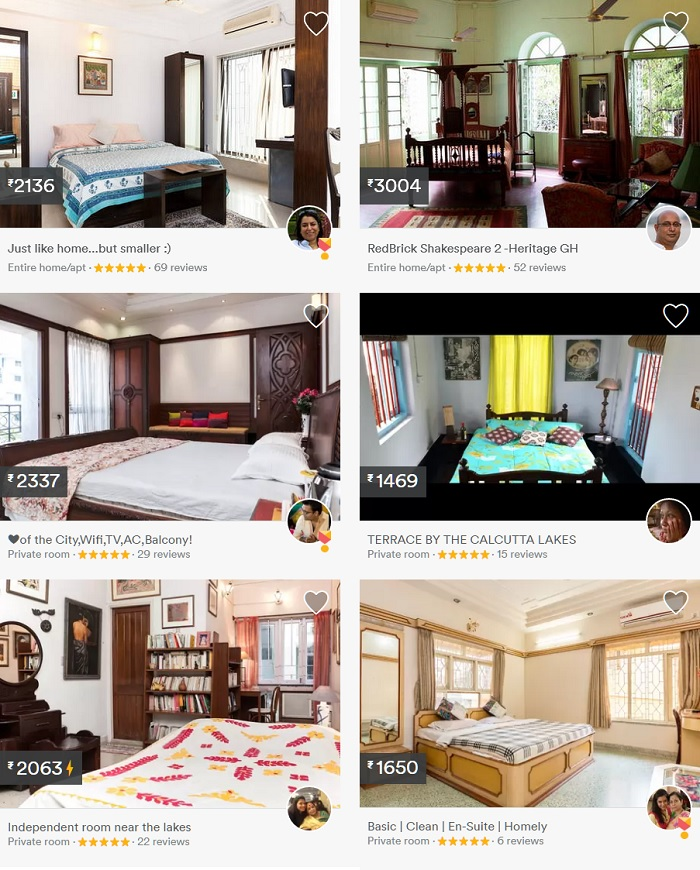 Cost of Airbnb accommodations in Kolkata