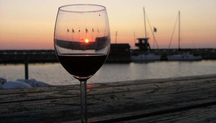 Enticing red wine against sunset