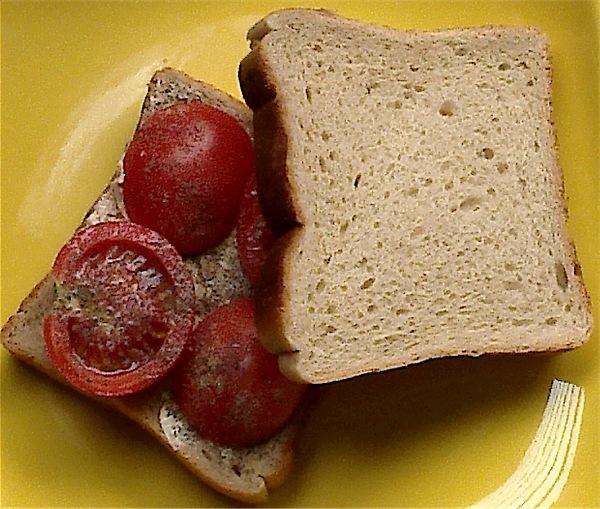 Preparing tomato sandwich for grilling